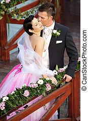 Una pareja de bodas
