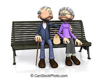 Una pareja de dibujos animados en el banco.