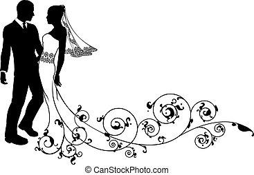 Una pareja de novias y novios