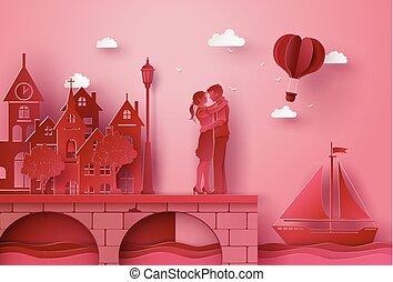 Una pareja de pie abrazando el puente de la aldea costera. Las ilustraciones hicieron el mismo arte de papel y estilo artesanal.