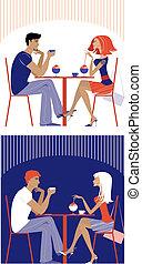 Una pareja en el café