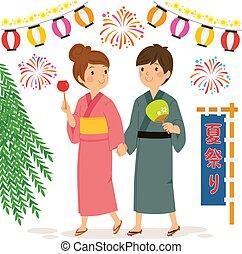 Una pareja en el festival de verano japonés