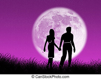 Una pareja en la luna