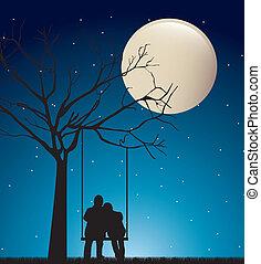 Una pareja en la noche