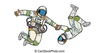 Una pareja enamorada, astronautas tomados de la mano