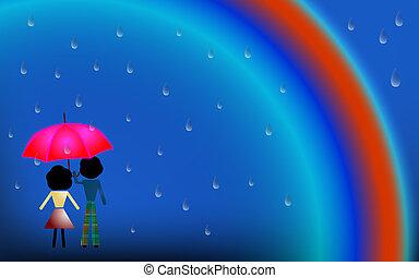 Una pareja enamorada bajo la lluvia