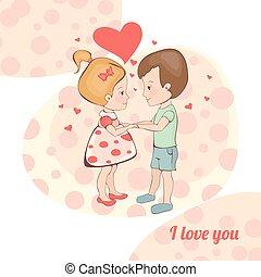 Una pareja enamorada. Chico y chica tomándose de la mano.