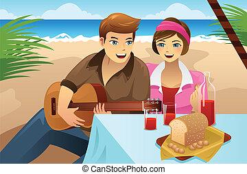 Una pareja haciendo un picnic