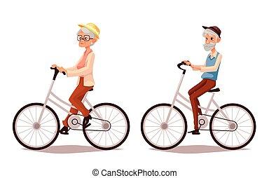 Una pareja mayor montando sus bicicletas