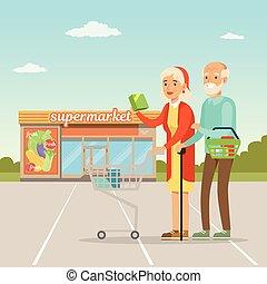Una pareja mayor parada frente a un edificio de supermercados con compras, gente comprando vectores de ilustración
