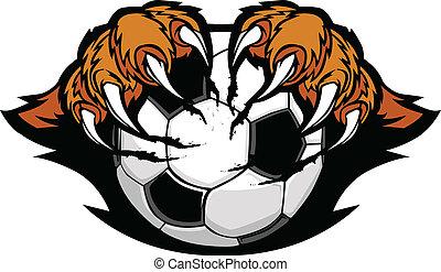 Una pelota de fútbol con garras de tigre vector