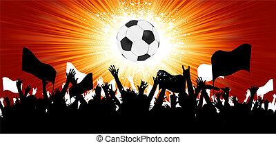 Una pelota de fútbol con siluetas de fans. EPS 8