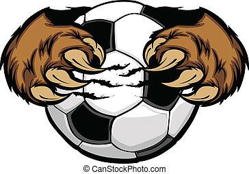 Una pelota de fútbol con un vector de garras de oso