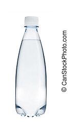 Una pequeña botella de agua de cristal