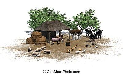 Una pequeña granja con animales