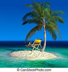 Una pequeña isla tropical con una finca de playa