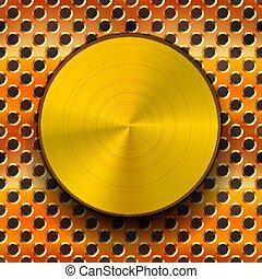 Una perilla de metal dorado brillante con sombra en la red de cobre