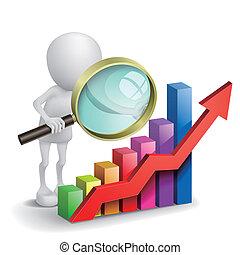Una persona con un gráfico financiero y una lupa