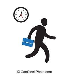 Una persona de negocios corriendo para llegar a tiempo