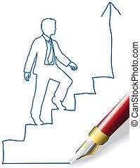 Una persona de negocios escala el éxito