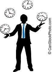 Una persona de negocios ocupada hace malabares con el reloj