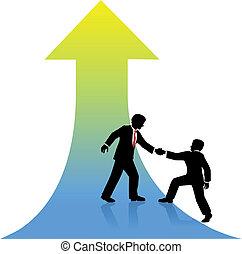 Una persona de negocios que ayuda a su pareja al éxito