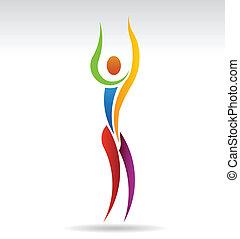 Una persona del yoga Vector con el brazo en alto