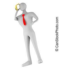 Una persona en 3D hablando por teléfono