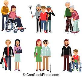 Una persona incapacitada con sus amigos o voluntarios. Ilustración del estilo del vector plano de los humanos