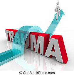 Una persona salta sobre la palabra Trauma en una flecha, simbolizando los efectos positivos de la terapia y la rehabilitación así como una buena actitud