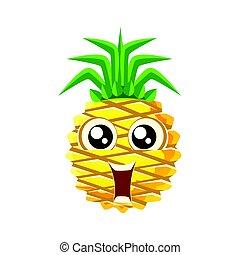 Una piña sonriente con ojos grandes. Lindo emoji de dibujos animados vector de ilustración