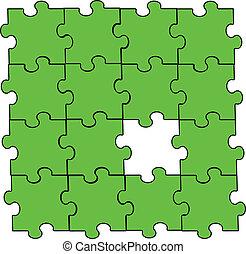 Una pieza de rompecabezas verde