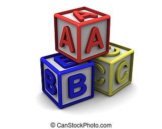 Una pila de letras B C