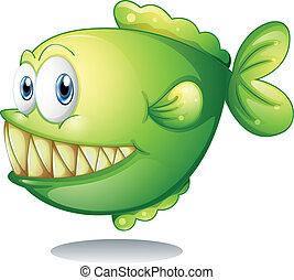 Una piraña verde