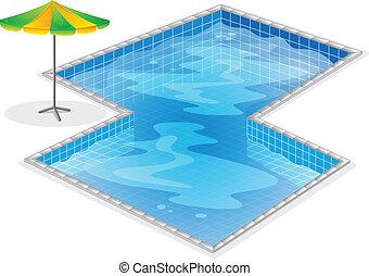Una piscina con un paraguas de playa