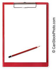 Una pizarra roja con papel y lápiz en blanco