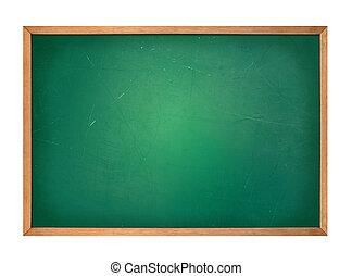 Una pizarra verde en blanco