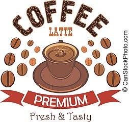 Una placa de café de Premium con taza de café con leche