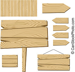Una placa de firma y objetos de madera