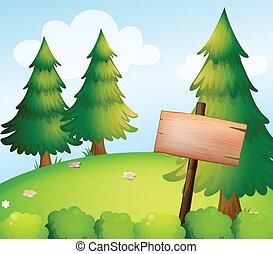 Una placa de madera en blanco en el bosque