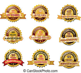 Una placa de oro de aniversario