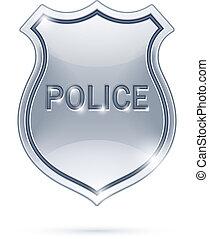 Una placa de policía