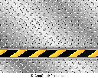 Una placa metálica con línea industrial rayada