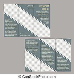 Una plantilla de folleto tri-pliegado con rayas azules