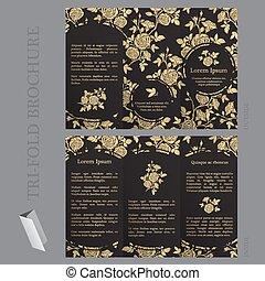 Una plantilla de folletos triples con rosas