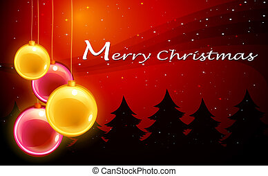 Una plantilla de tarjetas de Navidad con bolas brillantes