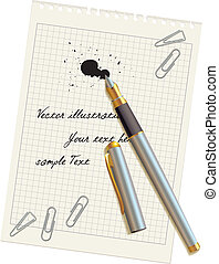Una pluma y una mancha en el papel en blanco