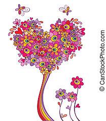 Una postal con un gracioso árbol de bienvenida