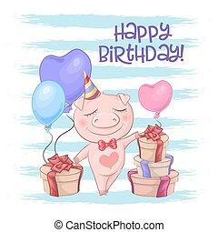 Una postal de cerdo con globos. Vector de estilo de dibujos animados
