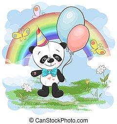 Una postal de ilustración, lindo panda con globos en un fondo de arco iris y nubes. Imprimir la ropa y el cuarto de los niños